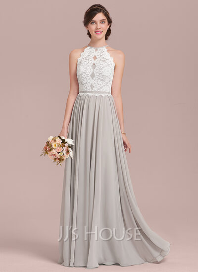 7665789694d70 A-Line Scoop Neck Floor-Length Chiffon Lace Bridesmaid Dress ...