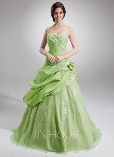 Ball-Gown Sweetheart Floor-Length Taffeta Organza Quinceanera Dress With Ruffle Appliques Lace Flower(s)