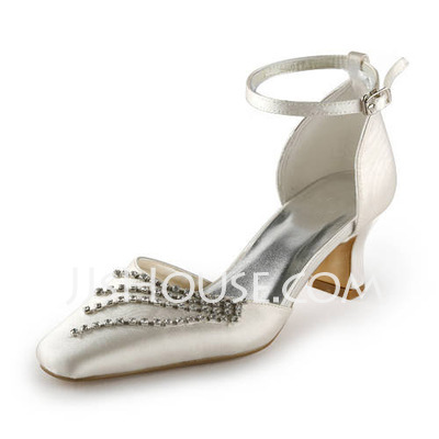 Women's Satin Spool Heel Closed Toe Pumps With Buckle Rhinestone