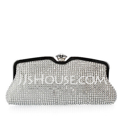 Shining Satin With Rhinestone Clutches