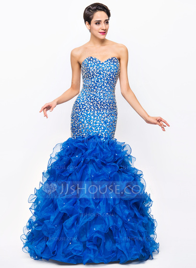 Trumpet/Mermaid Sweetheart Floor-Length Satin Organza Prom Dresses With Beading Sequins