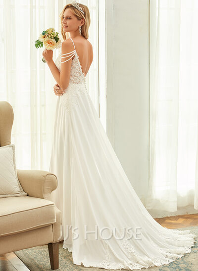 A-Line V-neck Sweep Train Chiffon Lace Wedding Dress With Beading Sequins
