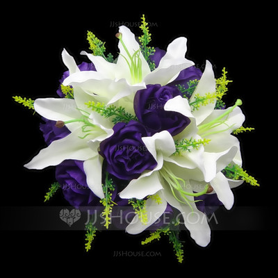 Charming Round Satin Bridal Bouquets