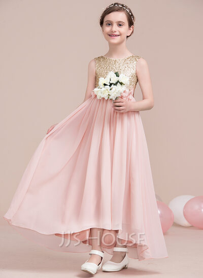 A-Line Asymmetrical Flower Girl Dress - Chiffon/Sequined Sleeveless Scoop Neck With Flower(s)/Sequins/Bow(s)