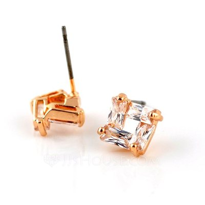 Classic Zircon/Gold Plated Ladies' Earrings