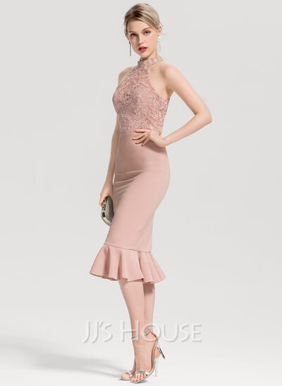 Trumpet/Mermaid High Neck Knee-Length Stretch Crepe Cocktail Dress With Cascading Ruffles