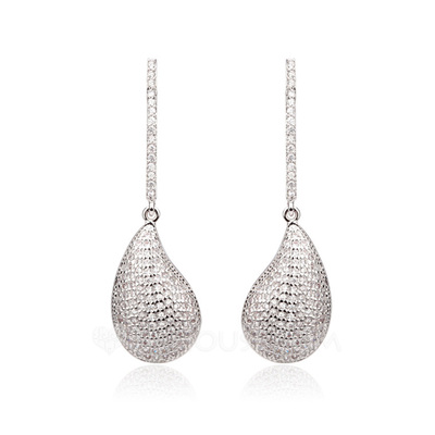 Romantic Zircon/Platinum Plated Ladies' Earrings
