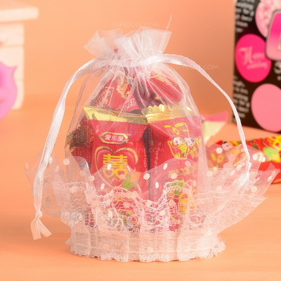 Sweet Love Basket Favor Bags With Ribbons (Set of 12)