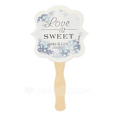 Personalized Hard Card Paper Hand Fans (Set of 6)