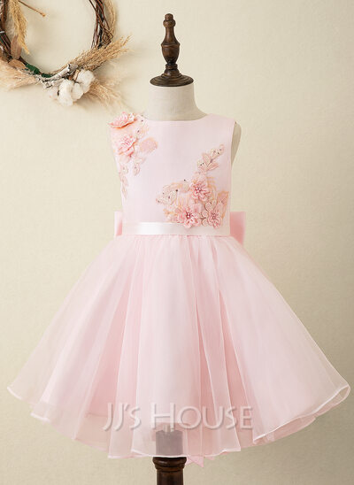 A-Line Knee-length Flower Girl Dress - Organza/Satin/Lace Sleeveless Scoop Neck With Sash/Flower(s)/Bow(s) (Undetachable sash)