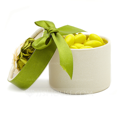 Cylinder Favor Boxes With Flowers/Ribbons (Set of 12)