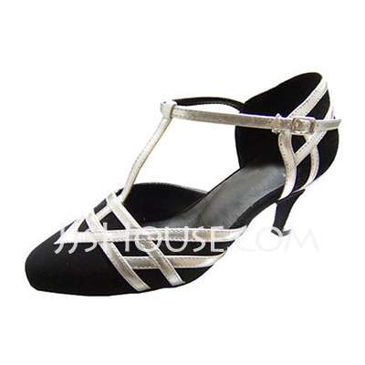 Women's Leatherette Nubuck Heels Pumps Ballroom With T-Strap Dance Shoes