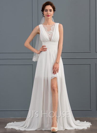 A-Line Scoop Neck Sweep Train Chiffon Wedding Dress With Ruffle Lace Split Front