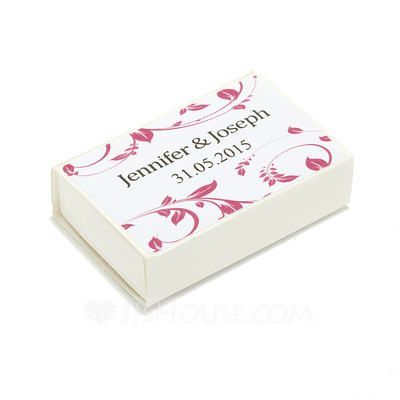 Personalized Floral Design Hard Card Paper Matchboxes (Set of 12)
