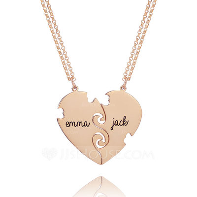 Christmas Gifts For Her - Custom 18k Rose Gold Plated Silver Engraving/Engraved Two Heart Necklace (Set of 2)