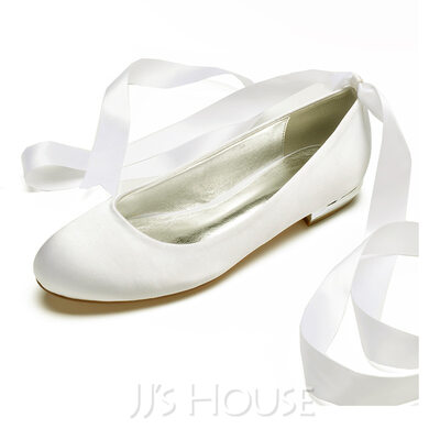 Women's Silk Like Satin Flat Heel Closed Toe Flats With Lace-up