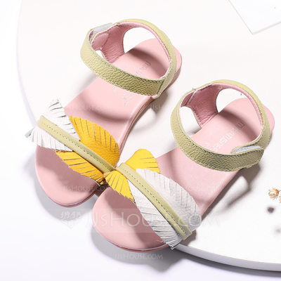 Girl's Peep Toe Slingback Real Leather Sandals Flats With Velcro