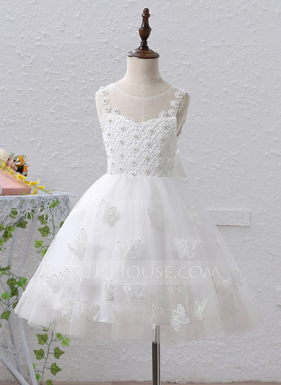 A-Line/Princess Knee-length Flower Girl Dress - Satin/Tulle/Lace Sleeveless Scoop Neck With Beading/Bow(s)