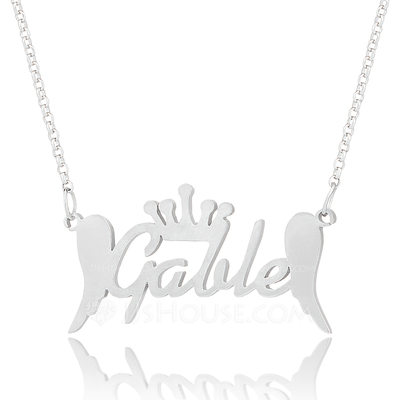 Christmas Gifts For Her - Custom Sterling Silver Name Necklace With Crown Angeles