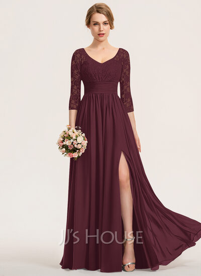 A-Line V-neck Floor-Length Chiffon Lace Bridesmaid Dress With Ruffle Split Front