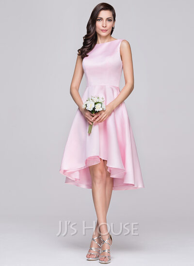 A-Line/Princess Scoop Neck Asymmetrical Satin Bridesmaid Dress