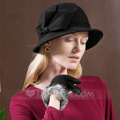 Ladies' Glamourous/Exquisite Wool With Imitation Butterfly Floppy Hat