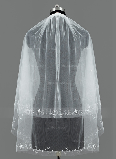 Two-tier Fingertip Bridal Veils With Cut Edge