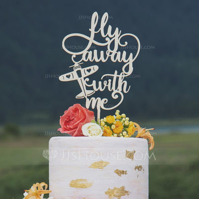 Fly Away With ME Acrylic/Wood Cake Topper