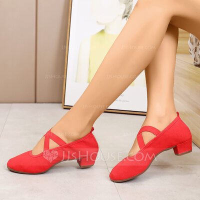 Women's Canvas Pumps Modern Jazz Belly With Lace-up Dance Shoes