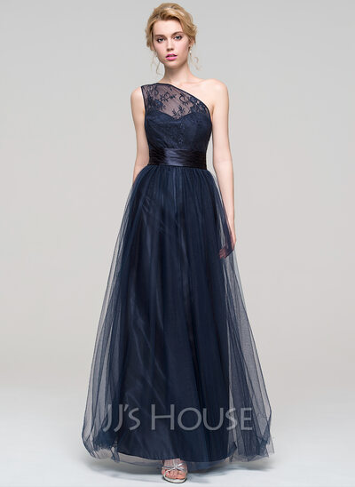A-Line/Princess One-Shoulder Floor-Length Tulle Prom Dresses With Ruffle