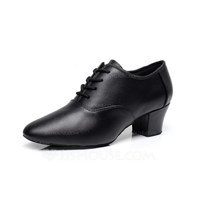 Women's Real Leather Heels Swing With Lace-up Dance Shoes