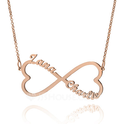 Christmas Gifts For Her - Custom 18k Rose Gold Plated Silver Infinity Two Name Necklace With Heart