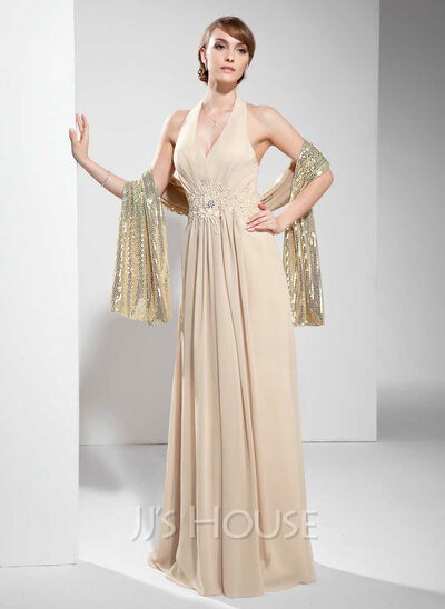 A-Line/Princess Halter Floor-Length Chiffon Holiday Dress With Ruffle Lace Beading
