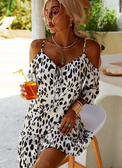 Leopard Spaghetti Straps 3/4 Sleeves Cold Shoulder Sleeve Midi Dresses