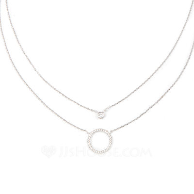 Silver Circle Double Pendant Necklace - Birthday Gifts Mother's Day Gifts
