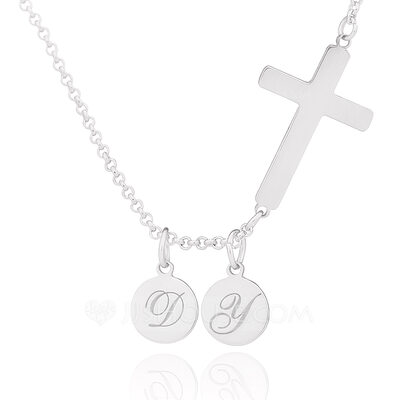 Christmas Gifts For Her - Custom Sterling Silver Religious Cross Circle Two Initial Necklace