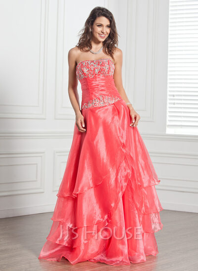 A-Line/Princess Strapless Floor-Length Organza Quinceanera Dress With Embroidered Beading Sequins Cascading Ruffles