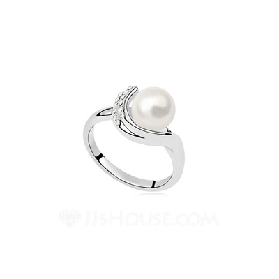 Fashional Pearl/Platinum Plated With Rhinestone Ladies' Rings