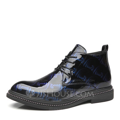 Men's Patent Leather Lace-up Chukka Casual Men's Boots