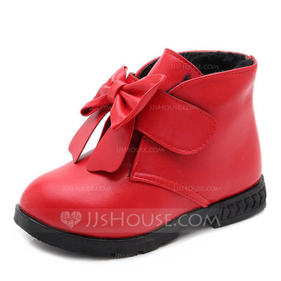 Girl's Round Toe Closed Toe Leatherette Flats Boots Flower Girl Shoes With Bowknot Velcro