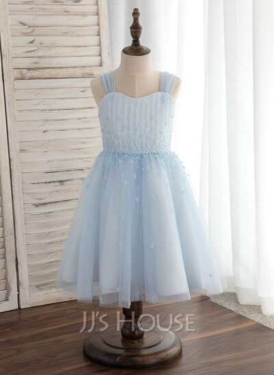 A-Line/Princess Knee-length Flower Girl Dress - Tulle Sleeveless Straps