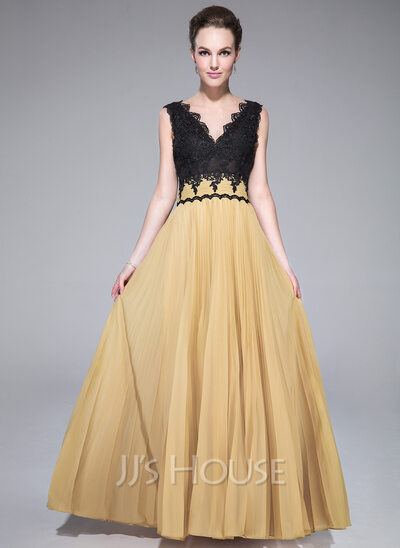 A-Line/Princess V-neck Floor-Length Chiffon Prom Dresses With Pleated