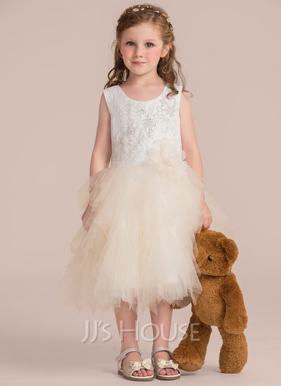 Ball Gown Knee-length Flower Girl Dress - Tulle/Lace Sleeveless Scoop Neck With Beading/Flower(s)/Sequins