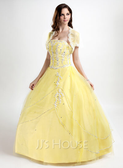 Ball-Gown Strapless Floor-Length Tulle Quinceanera Dress With Beading Appliques Lace Sequins