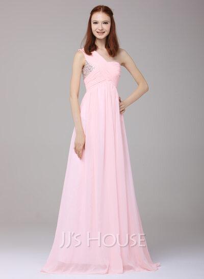 Forme Princesse Seule-épaule Longueur ras du sol Mousseline Robe de vacances avec Plissé Brodé Paillettes
