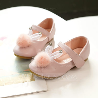 Girl's Mary Jane Microfiber Leather Flower Girl Shoes With Velcro pompom
