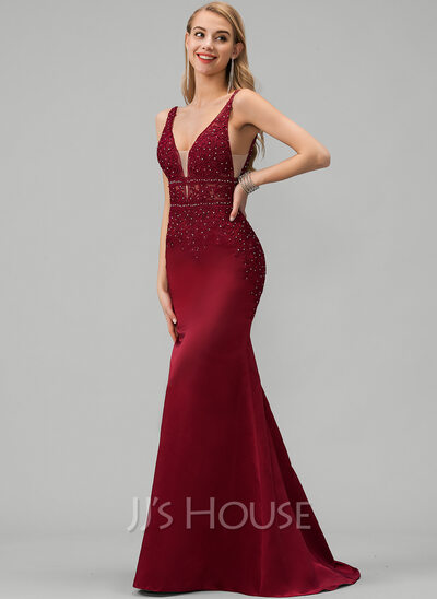TrumpetMermaid V neck Sweep Train Satin Prom Dresses With Lace Beading (018220232)