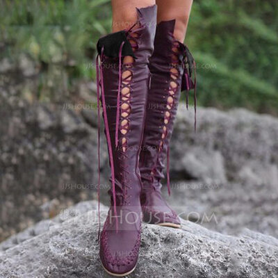 Women's Leatherette Flat Heel Knee High Boots With Lace-up shoes