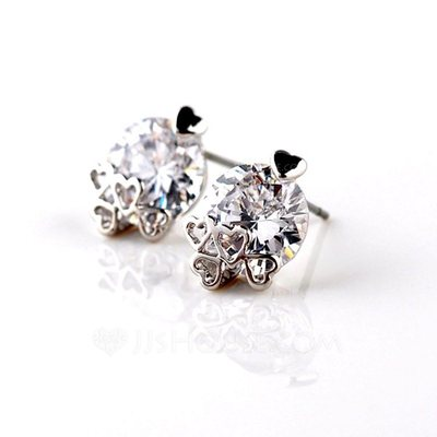Classic Zircon/Platinum Plated Earrings