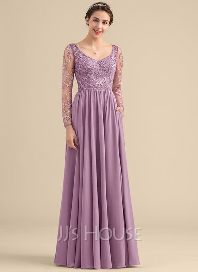 A-Line V-neck Floor-Length Chiffon Lace Bridesmaid Dress With Beading Pockets